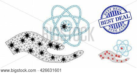 Mesh Polygonal Quantum Service Hand Icons Illustration In Lockdown Style, And Textured Blue Round Be