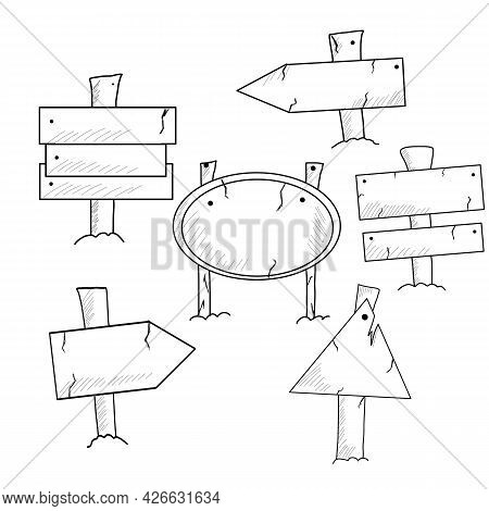 Doodle Wood Signs And Direction Arrows. Sketch Wooden Arrow, Illustration Of Frame Wooden Plank. Vec