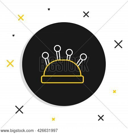 Line Needle Bed And Needles Icon Isolated On White Background. Handmade And Sewing Theme. Colorful O