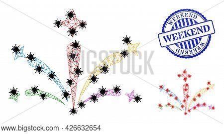 Mesh Polygonal Salute Fireworks Symbols Illustration Designed Using Infection Style, And Distress Bl