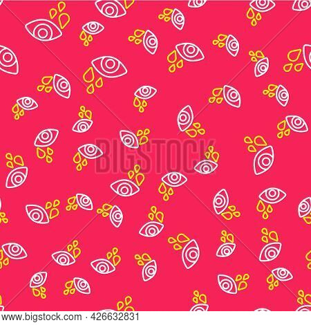 Line Tear Cry Eye Icon Isolated Seamless Pattern On Red Background. Vector
