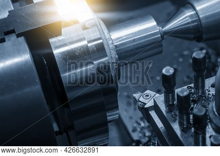 Close-up Scene Of Chip Insert Of Lathe Cutting Tool Holding With The Turret. The Metalworking Proces