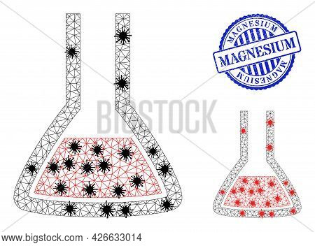 Mesh Polygonal Chemical Flask Symbols Illustration In Outbreak Style, And Scratched Blue Round Magne