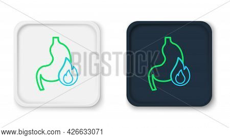 Line Stomach Heartburn Icon Isolated On White Background. Stomach Burn. Gastritis And Acid Reflux, I