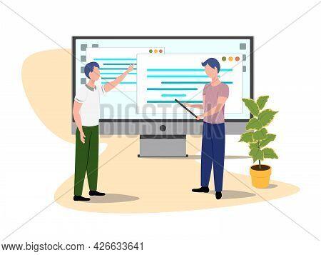 Software Developer Character. Vector Programmer Develops Code Illustration. Vector Illustration Eps1