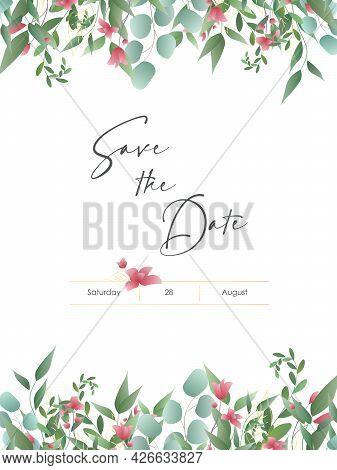Modern Wedding Invitation Card Template. Vector Decorative Greeting Card Or Invitation Design Backgr