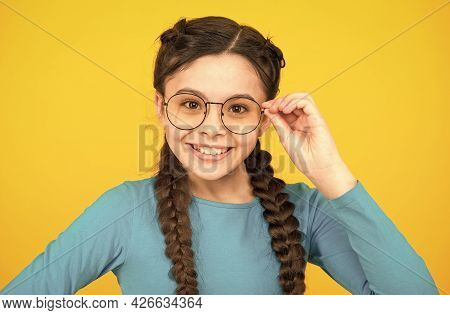 Wearing Uv Protective. Smart Looking Kid. Beauty In Glasses. Childhood Happiness. Smiling Child Wear