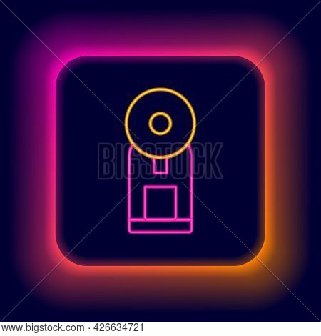 Glowing Neon Line Smart Coffee Machine System Icon Isolated On Black Background. Internet Of Things