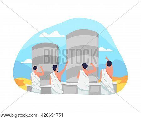 Jamarat Ritual In Hajj Illustration
