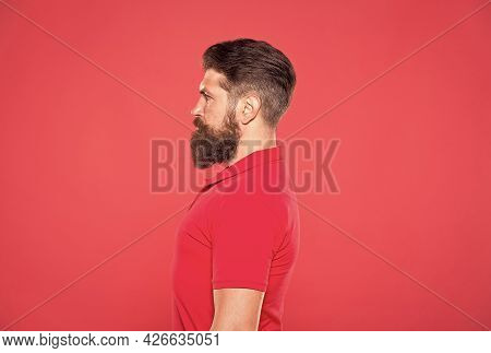 Confident In His Attractiveness. Bearded And Cool. Hipster Appearance. Beard Fashion. Barber Concept