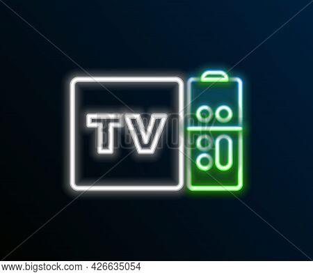 Glowing Neon Line Multimedia And Tv Box Receiver And Player With Remote Controller Icon Isolated On
