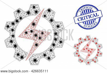 Mesh Polygonal Energy Industry Icons Illustration With Infection Style, And Rubber Blue Round Critic