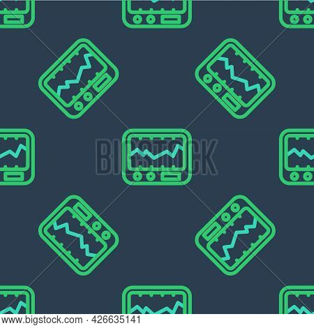 Line Electrical Measuring Instrument Icon Isolated Seamless Pattern On Blue Background. Analog Devic