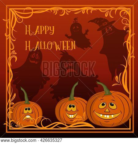 Holiday Halloween Background, Cartoons Pumpkins Jack O Lantern And Ghosts Silhouettes. Vector