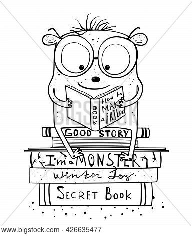 Funny Cute Monster Reading Books And Study, Adorable Monochrome Reading Imaginary Creature Character