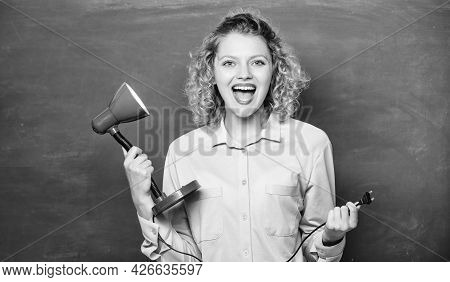 Teacher Hold Table Lamp In Hand Chalkboard Background. Insight And Idea. Educational Idea. Woman Wor