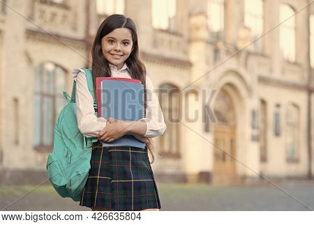 Knowledge Is Free At Library. Library Reader Outdoors. Happy Child Hold Library Books. Cute Bookworm