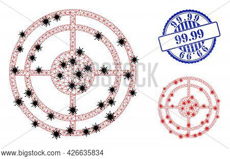 Mesh Polygonal Bullseye Icons Illustration In Lockdown Style, And Scratched Blue Round 99.99 Stamp S