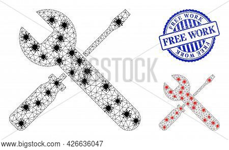 Mesh Polygonal Screwdrivers And Wrench Symbols Illustration In Outbreak Style, And Rubber Blue Round