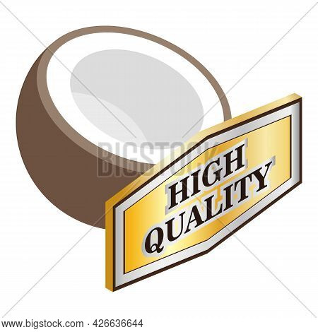 Coconut Icon Isometric Vector. Fresh Brown Tropical Coco. High Quality Sign, Nut