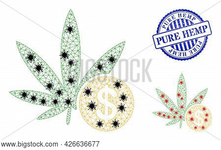 Mesh Polygonal Cannabis Investing Icons Illustration In Outbreak Style, And Scratched Blue Round Pur