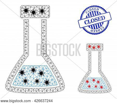 Mesh Polygonal Closed Retort Symbols Illustration In Infection Style, And Scratched Blue Round Close