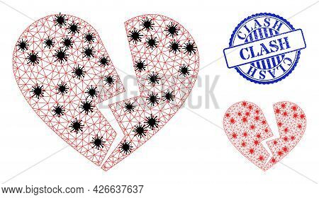 Mesh Polygonal Broken Love Heart Icons Illustration In Outbreak Style, And Grunge Blue Round Clash S