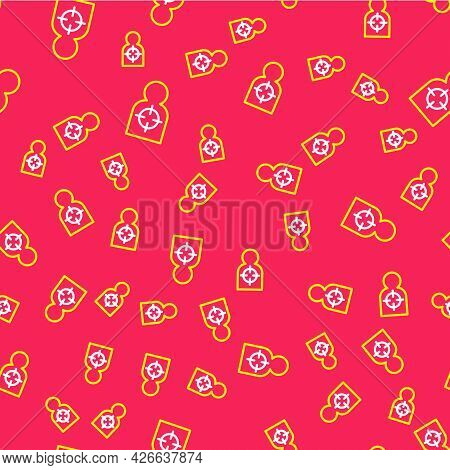 Line Human Target Sport For Shooting Icon Isolated Seamless Pattern On Red Background. Clean Target