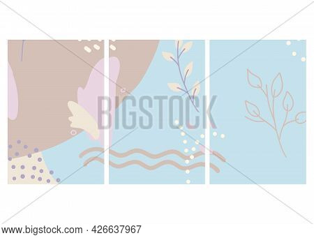 Vector Mockup For Social Media In Abstract Design. Editable Templates In Winter Colors For Posts In