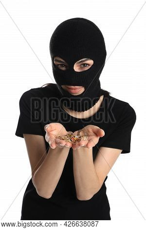 Woman Wearing Knitted Balaclava With Jewellery On White Background
