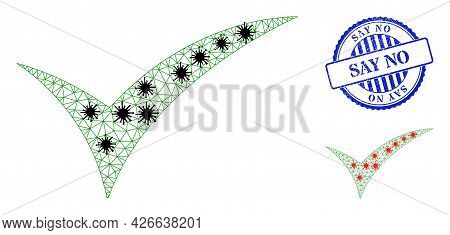 Mesh Polygonal Apply Icons Illustration Designed Using Infection Style, And Distress Blue Round Say
