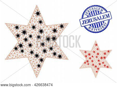 Mesh Polygonal Six Pointed Star Symbols Illustration In Infection Style, And Textured Blue Round Jer