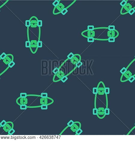 Line Longboard Or Skateboard Cruiser Icon Isolated Seamless Pattern On Blue Background. Extreme Spor