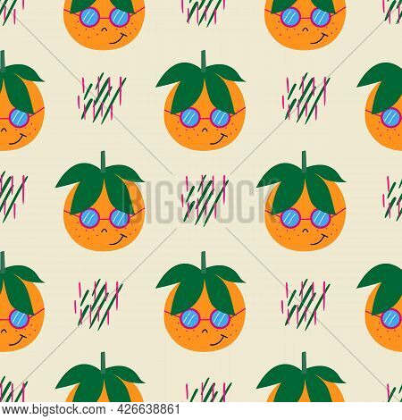 Seamless Pattern With Orange Tangerines And Green Leaves. Gently Orange Background With Dots. Vector