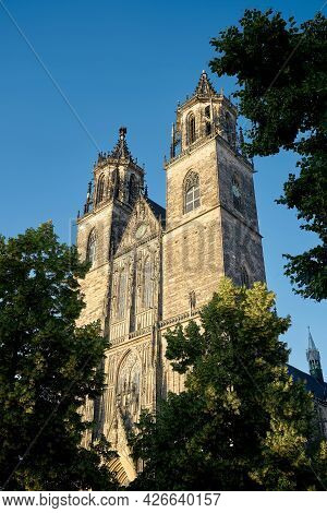 View Of The Historic Magdeburg Cathedral In The Old Town Of The City On The Elbe River