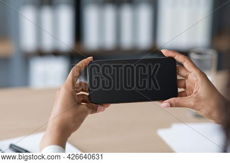 Close Up Of Woman Hands Hold Phone, Using Smartphone To Checking Email At Home, Social Distancing