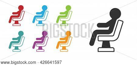 Black Human Waiting In Airport Terminal Icon Isolated On White Background. Set Icons Colorful. Vecto