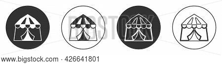 Black Circus Tent Icon Isolated On White Background. Carnival Camping Tent. Amusement Park. Circle B