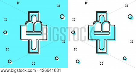 Black Line Attraction Carousel Icon Isolated On Green And White Background. Amusement Park. Children