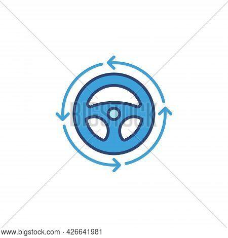 Steering Wheel With Arrows Blue Icon. Car Vector Sign