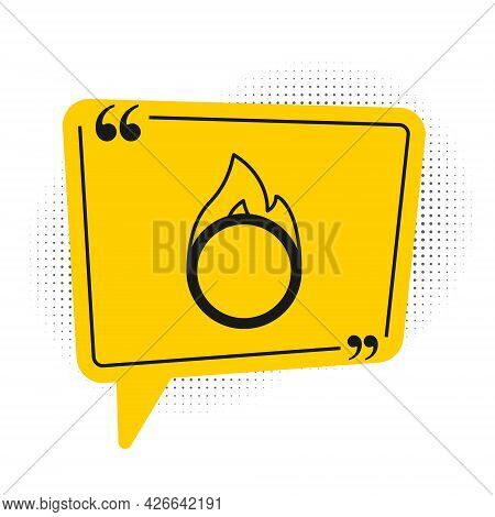 Black Circus Fire Hoop Icon Isolated On White Background. Ring Of Fire Flame. Round Fiery Frame. Yel