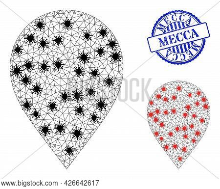 Mesh Polygonal Map Marker Icons Illustration Designed Using Infection Style, And Rubber Blue Round M