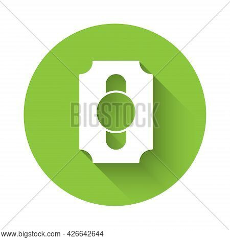 White Circus Ticket Icon Isolated With Long Shadow Background. Amusement Park. Green Circle Button.