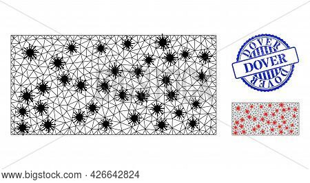 Mesh Polygonal Rectangle Icons Illustration In Infection Style, And Textured Blue Round Dover Stamp