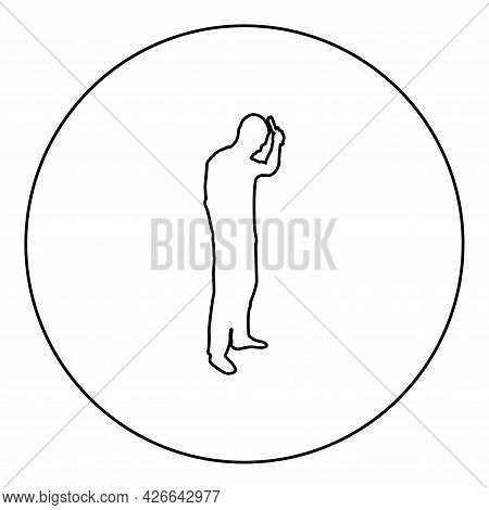 Man Is Combing Hair Use Hairbrush Side View Silhouette In Circle Round Black Color Vector Illustrati