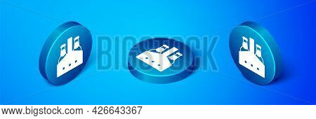 Isometric Pack Of Beer Bottles Icon Isolated On Blue Background. Case Crate Beer Box Sign. Blue Circ
