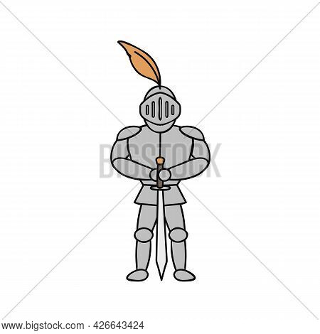 Knight In Armor Illustration On White Background