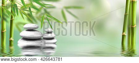 Spa Concept Zen Basalt Stones With Bamboo