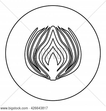 Onion Cut In Half Part Bulbs Chopped Sliced Vegetable Silhouette In Circle Round Black Color Vector