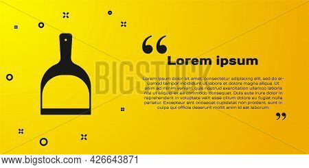 Black Dustpan Icon Isolated On Yellow Background. Cleaning Scoop Services. Vector